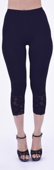 SHYIE Lycra Midnight Blue Women's Premium Quality Plain Lace Women's Blue Capri