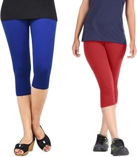 Rooliums Super Fine Cotton Capri Leggings Women's Blue, Red Capri
