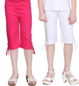 Sinimini Girl's Pink, White Capri