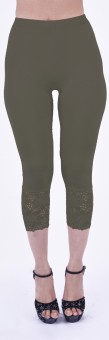 SHYIE Lycra Olive Green Women's Premium Quality Plain Lace Women's Green Capri