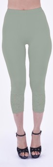 SHYIE Lycra Pista Green Women's Premium Quality Plain Lace Women's Green Capri