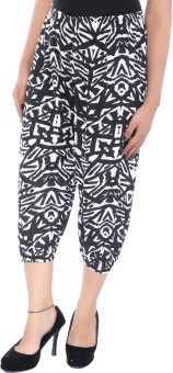 Apple Knitt Wear Black & White Cotton Printed Harem 3/4 Women's Capri