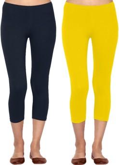 Linking Threads Vetha Women's Dark Blue, Yellow Capri