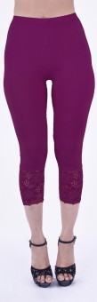 SHYIE Lycra Plum Wine Women's Premium Quality Plain Lace Women's Purple Capri