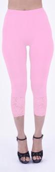 SHYIE Lycra Lavender Pink Women's Premium Quality Plain Lace Women's Pink Capri