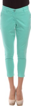 Amari West By INMARK Green Solid Women's Capri