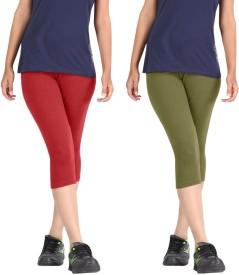 Rooliums Super Fine Cotton Capri Leggings Women's Red, Light Green Capri