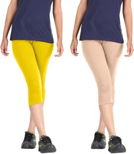 Rooliums Super Fine Cotton Capri Leggings Women's Yellow, Beige Capri