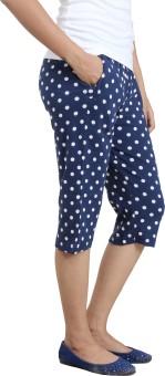 Wazeer Capris - Cotton Lycra - Navy - M Women's Blue Capri