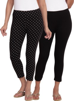 Slumber Jill SlumberJill Dot Print + Solid Pack Of 2 Stretch Capris Women's Black, White Capri