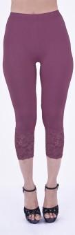 SHYIE Lycra Orchid Mauve Women's Premium Quality Plain Lace Women's Purple Capri
