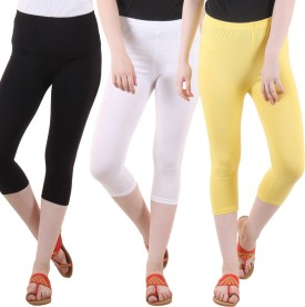 Fasha Women's Black, White, Yellow Capri