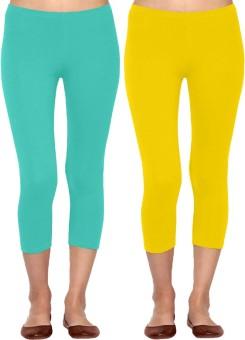 Linking Threads Vetha Women's Light Blue, Yellow Capri