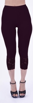 SHYIE Lycra Eggplant Purple Women's Premium Quality Plain Lace Women's Purple Capri