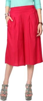 People Red Solid Skirt Women's Capri