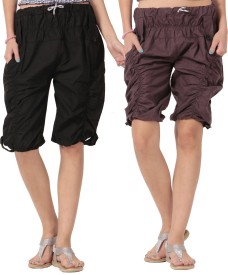 TeeMoods Duo-Wrinkled Women's Black, Brown Capri