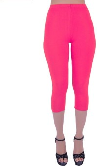 SHYIE SHYIE Lycra Hot Pink Fushia Women's Premium Quality Plain Capri Women's, Girl's Capri