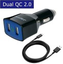 Ivoler IVoler 36W 2.0 USB 2 Ports Car Charger For Smartphones With 6.5ft Micro USB Cable - Black Car Charger (Black)