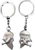 U. R. God Best Friend Bird In Couple Heart Key Chain (Silver)