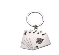 Ezone Stylic Metal Playing Card Ring Key Chain (Silver)