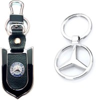 City Choice Mercedes Leather Metal Hook Combo Locking Key Chain (Chrome , Black & Blue)