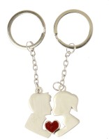 Kairos Couple Kissing Key Chain (Silver)