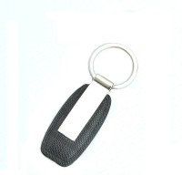 DivineXt Metal Leather Key Chain (Black, Silver)