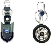 City Choice Wheel & Leather-Metal Locking Key Chain (Black , Blue & Chrome)