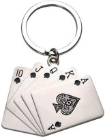 Confident Metal Poker Cards Keychain (Silver)