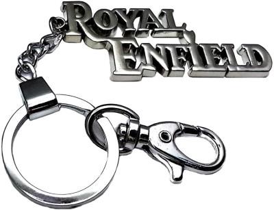 Confident ROYAL ENFIELD Locking Metal Locking Keychain (Silver)