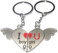 CTW Couple Express Love Metal Heart Wings Keychain (Silver, Red)