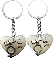 CTW I Love You Heart Metal Couple Valentine Gift Key Chain (Silver)