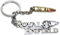 Aura Imported Royal Enfield Logo With Bullet Key Chain (Silver, Brown)