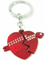 Singh Xpress Friends Two Piece Heart With Studded Diamonds - Key Chain - Car And Bike - Fancy - Accessories Steel Alloy Standard Size - - Valentines Special Carabiner (Brown)