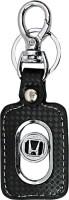U. R. God Premium Honda Logo Leather Metal Locking Key Chain (Black)
