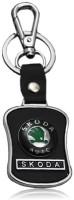 Chainz Skoda Leather Metallic Locking Key Chain (Black, Silver)