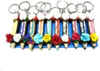 WebKreature 10 Wooden Fancy Color Pencils Locking Key Chain (Blue, Maroon, Black, Pink, Sky Blue, Green, Orange, Lemon Yellow, Red, Dark Green)