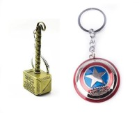 Chainz Gold Thor Hammer And Captain America Keychain (Multicolor)