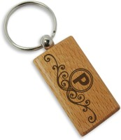 Tiedribbons Alphabet P Wooden Key Chain (Brown)