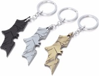 Chainz Pack Of 3 Batman Cutout Metal Logo Keychain (Golden, Silver, Black)