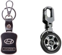City Choice Combo Of 2 Pcs Of Hyundai Locking Key Chain (Black & Chrome)