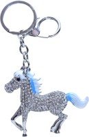 Dealfinity Blue And White Studded Horse Metal DKYCN1566 Locking Key Chain (Multicolor)