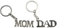 Confident Set Of 2 Mom And Dad Silver Metal Key Chain (Silver)