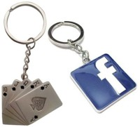 Confident Set Of 2 Metalic Poker Cards And Facebook Logo Key Chain (Multicolor)