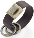 Troika Turn Leather Ring Locking Keyring Key Chain - Brown