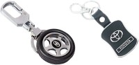 City Choice Toyota Keyrings Locking Key Chain (Black & Chrome)