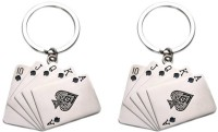 Confident Set Of 2 Two Poker Cards Key Chain (Silver)