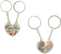 CTW True Love Heart & Heart Lock & Key Metal Couple Combo Key Chain (Silver)