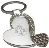 ShopnGift Heart Ganesha Key Chain (Silver)