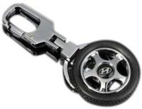 City Choice Hyundai Wheel Locking Key Chain (Black & Chrome)